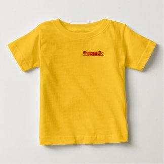 アマンダの黄色い赤ん坊の罰金のジャージーのTシャツ ベビーTシャツ