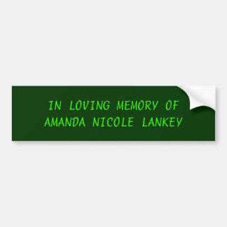 アマンダニコールLANKEYの愛情のある記憶 バンパーステッカー