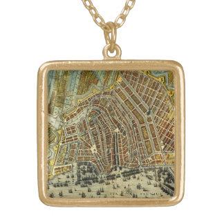 アムステルダムのオランダの別名オランダの旧式な地図 ゴールドプレートネックレス