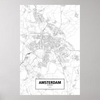 アムステルダムのオランダ(白の黒) ポスター