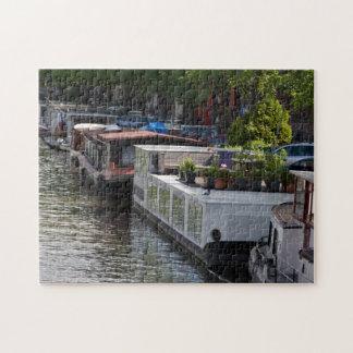 アムステルダムのハウスボートの写真のパズル ジグソーパズル