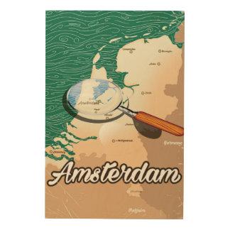 アムステルダムのヴィンテージの地図の休暇ポスター ウッドウォールアート