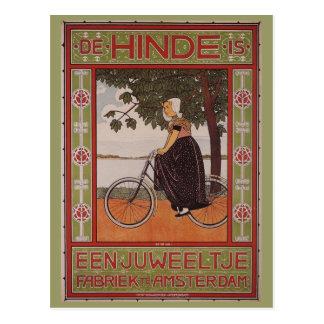 アムステルダムのヴィンテージの自転車ポスター芸術 ポストカード