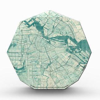 アムステルダムの地図の青いヴィンテージの水彩画 表彰盾