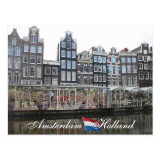 アムステルダムの花の市場のオランダの郵便はがき ポストカード