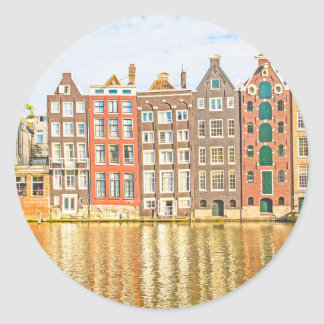 アムステルダムの運河 丸形シールステッカー
