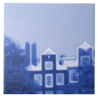 アムステルダムの都市景観のタイルの壁画- A4 正方形タイル大