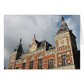 アムステルダムのCSの駅の鉄道写真カード カード
