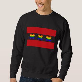 アムステルダムゲイプライドの虹Xの黒 スウェットシャツ