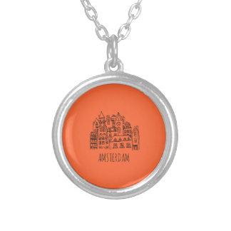 アムステルダムネザーランドオランダ都市記念品のオレンジ シルバープレートネックレス