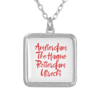 アムステルダムハーグロッテルダムユトレヒト シルバープレートネックレス