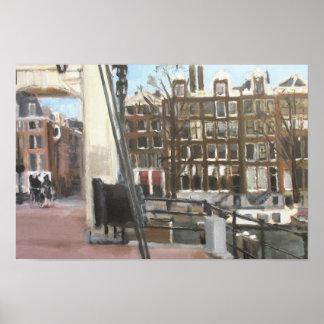 アムステルダム橋および運河の家のファインアート ポスター