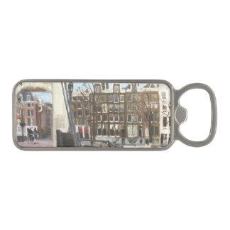 アムステルダム橋および運河の家のファインアート マグネット栓抜き