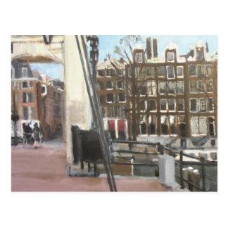 アムステルダム橋および運河の家のファインアート 葉書き