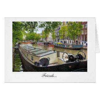 アムステルダム運河のはしけの家庭の友人 カード