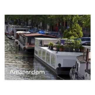 アムステルダム運河のハウスボートの郵便はがき ポストカード