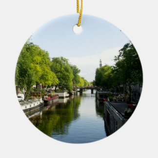 アムステルダム運河のハウスボート セラミックオーナメント