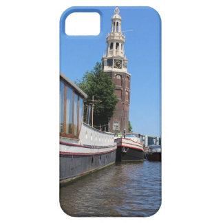 アムステルダム運河の眺め-ボートおよび尖塔 iPhone SE/5/5s ケース