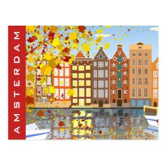 アムステルダム都市運河の秋のカラフルの郵便はがき ポストカード