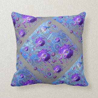 アメジストによって宝石で飾られる紫色のアイリス抽象芸術 クッション