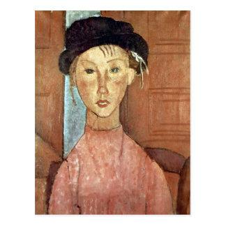 アメデオ・モディリアーニ著帽子を持つ女の子 ポストカード
