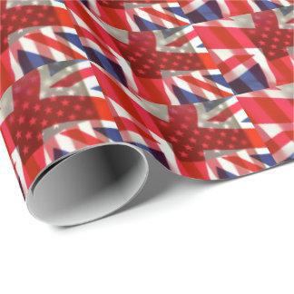 アメリカおよびイギリスの旗 ラッピングペーパー