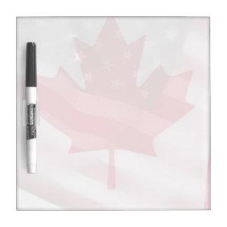 アメリカおよびカナダの旗は衰退します ホワイトボード