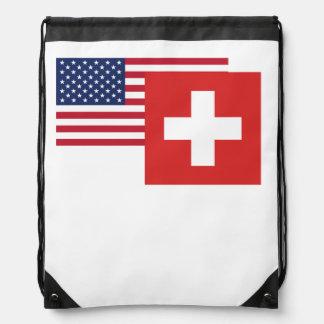 アメリカおよびスイスの旗 ナップサック