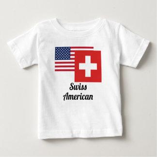 アメリカおよびスイスの旗 ベビーTシャツ