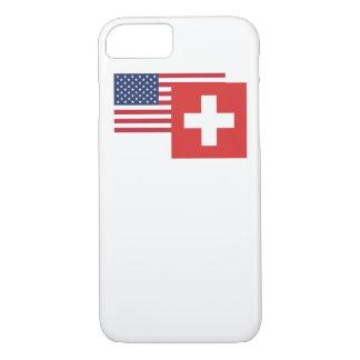 アメリカおよびスイスの旗 iPhone 8/7ケース