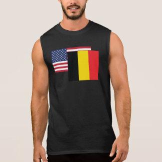 アメリカおよびベルギーの旗 袖なしシャツ