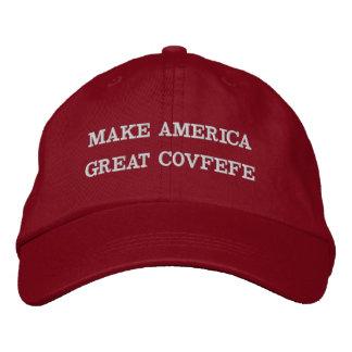 アメリカに素晴らしいCOVFEFE |をおもしろいで赤い綿の帽子作って下さい 刺繍入りキャップ