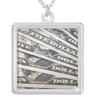 アメリカのお金のデザインの正方形の銀のネックレス シルバープレートネックレス