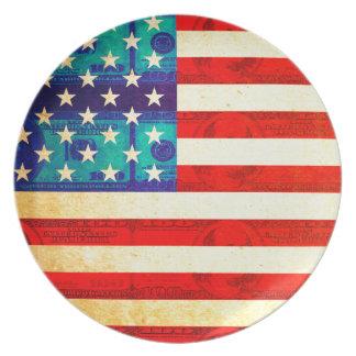 アメリカのお金の旗 プレート