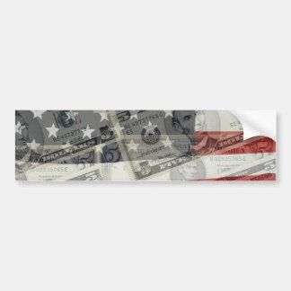 アメリカのお金及び旗のバンパーステッカー バンパーステッカー