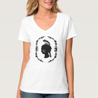 アメリカのインディアンの女の子のシルエットの女の子のティー Tシャツ