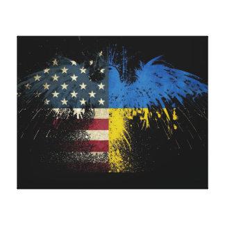 アメリカのウクライナの旗 キャンバスプリント