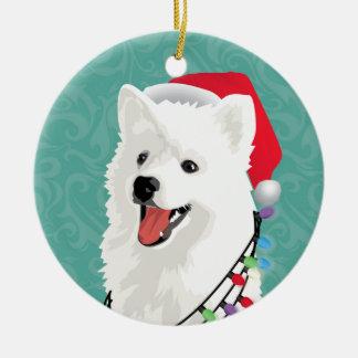 アメリカのエスキモーのSamoyedのかわいい小犬のクリスマス セラミックオーナメント
