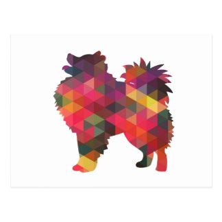 アメリカのエスキモー犬のシルエットのデザイン ポストカード