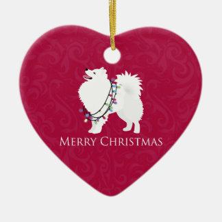 アメリカのエスキモー犬のメリークリスマスのデザイン セラミックオーナメント