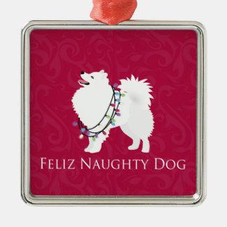 アメリカのエスキモー犬のFelizいけない犬のクリスマス メタルオーナメント