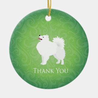 アメリカのエスキモー犬はデザイン感謝していしています セラミックオーナメント