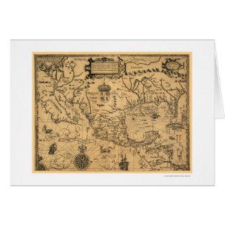 アメリカのクラシックな地図1600年 カード