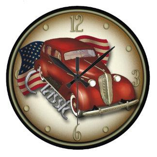 アメリカのクラシックな車の柱時計 ラージ壁時計