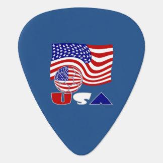 アメリカのサッカーボールおよび米国の旗 ギターピック