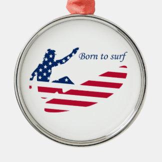 アメリカのサーファーをサーフする米国 メタルオーナメント