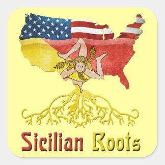 アメリカのシシリアの根のステッカー スクエアシール