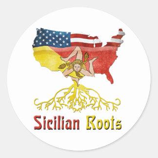 アメリカのシシリアの根のステッカー ラウンドシール