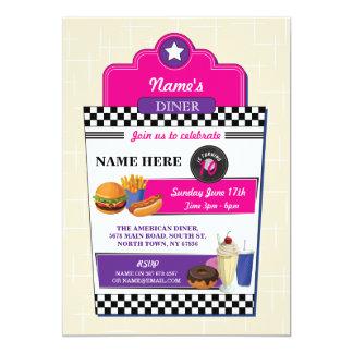 アメリカのダイナーの誕生会のハンバーガーの女の子の招待 カード