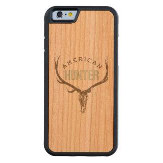 アメリカのハンター-棚のシカ/オオシカが付いているスカル CarvedチェリーiPhone 6バンパーケース